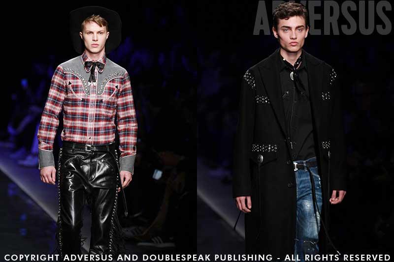 Influenze Country & Western e punk nella moda autunno inverno 2018 2019. Fashion Show: Dsquared2, foto: Mauro Pilotto