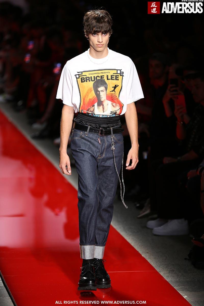 Tendenze moda uomo jeans primavera estate 2020. Sfilata: DSquared2. Foto: Mauro Pilotto