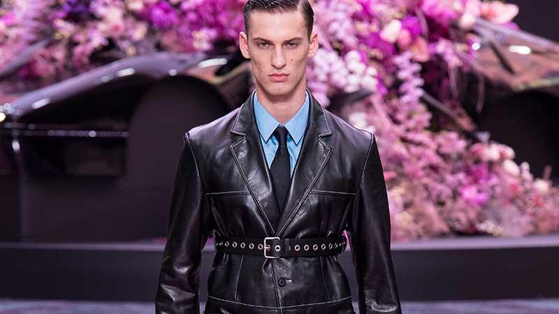 Moda uomo: Pelle -Versace Primavera Estate 2020