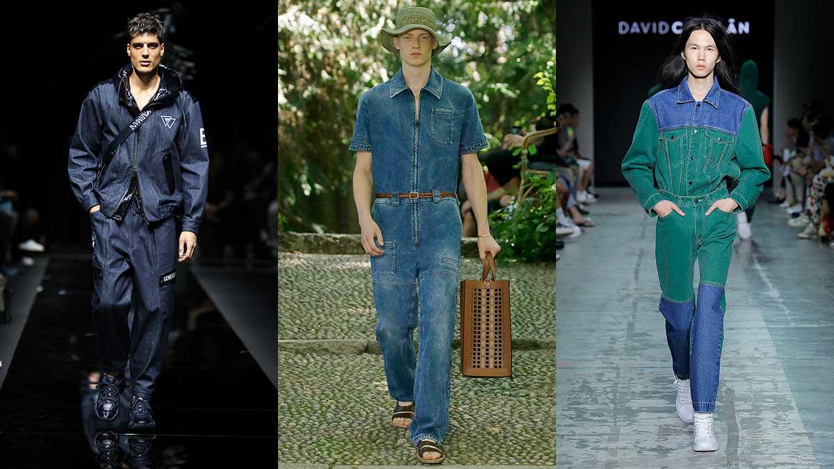 Tendenze moda estate 2020 - Double denim - Sfilate da sinistra Emporio Armani, Fendi, David Catalan