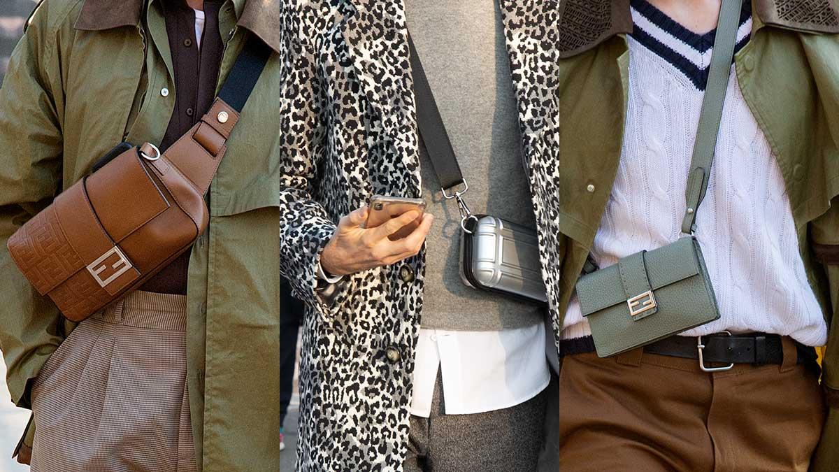 Moda uomo street style 2020. Cross body bags, le borse come si portano nel 2020. Foto Charlotte Mesman