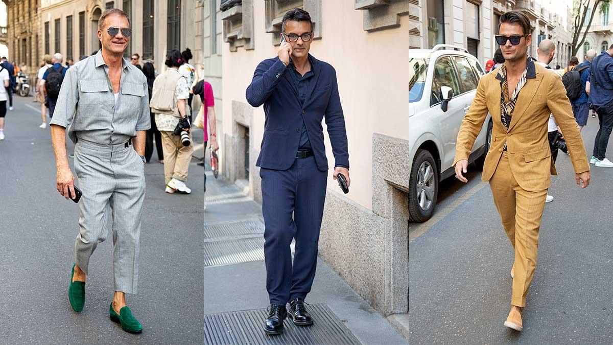 Street style moda uomo estate 2020. Chic senza esagerare in un completo casual - Foto Charlotte Mesman