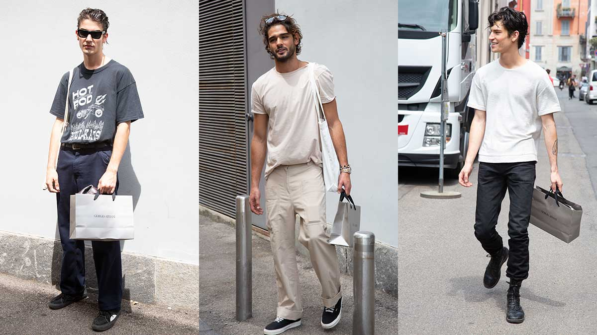 Moda uomo, street style estate 2020. Cool in jeans e tshirt - Foto Charlotte Mesman