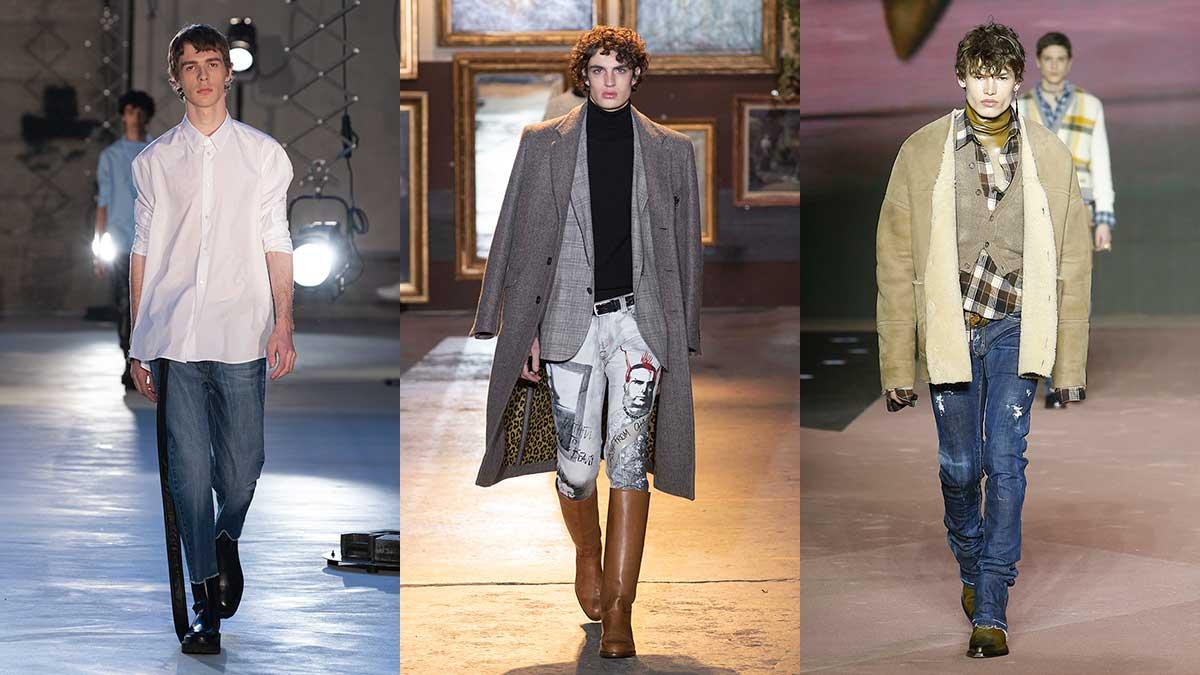 Tendenze moda uomo autunno inverno 2020 2021. Ecco le ultime tendenze jeans! - Da sinistra a destra N21, Etro e Dsquared2