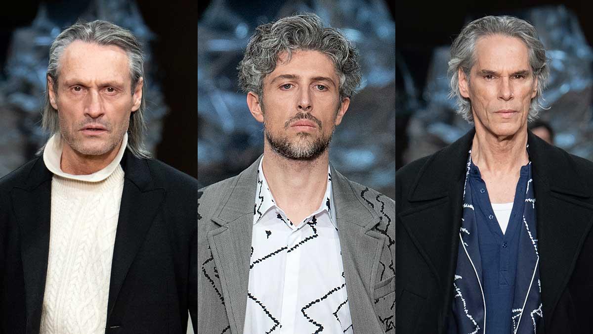 Tendenze capelli uomo inverno 2020 2021. I capelli lunghi - e grigi - sono la tendenza!  Photo: courtesy of Neil Barrett
