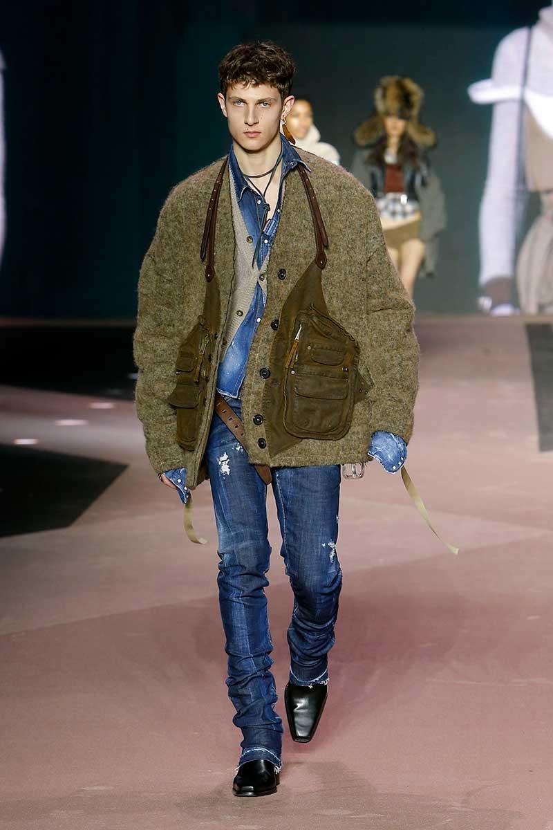 Tendenze moda uomo inverno 2020 2021. Tornano i cardigan del nonno. Aggiorna il tuo look! - Sfilata Dsquared2