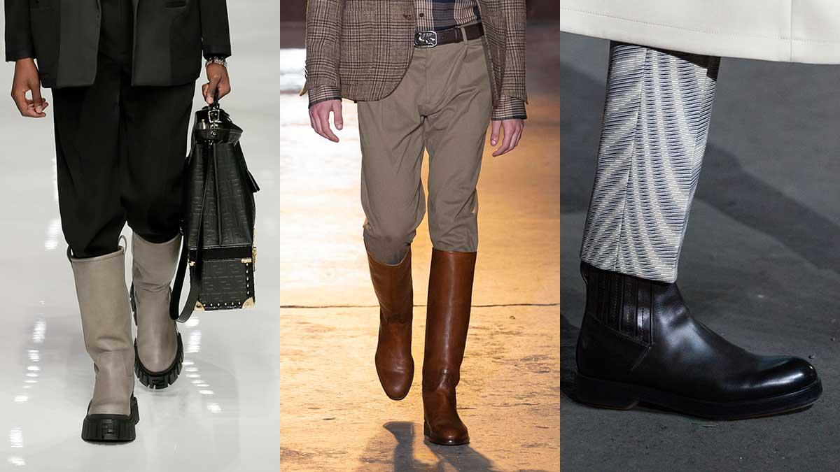 Tendenze scarpe uomo autunno inverno 2020 2021. Classici stivali Chelsea o stivali alti e moderni? Foto Fendi, Etro, Ermenegildo Zegna
