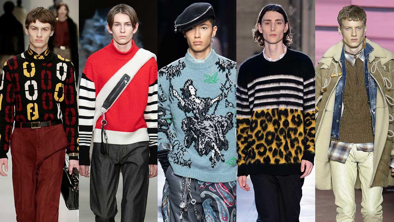 Tendenze moda uomo inverno 2020 2021. Ecco come saranno i maglioni invernali. Foto da sin a dx: Fendi, Neil Barrett, Dior, N21, Dsquared2