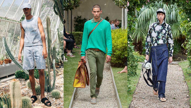 Tendenze moda uomo primavera estate 2021. Ecco i jeans che indosseremo! - Foto da sin a dx: David Catalan, Etro, Kenzo